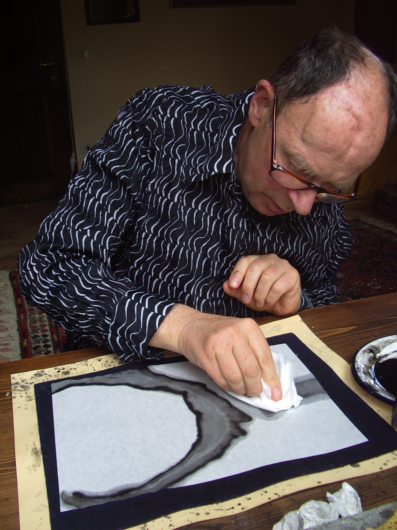 Michael Vetter making Indian ink drawings, Academia Caparaia, Italy, 2009